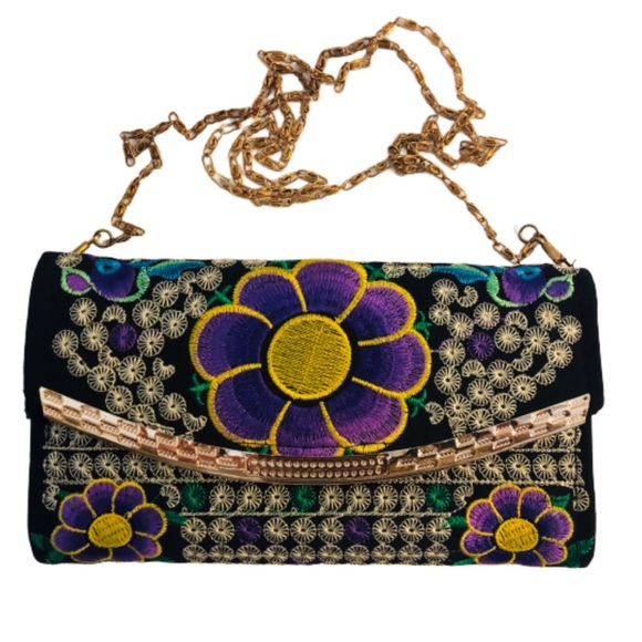 Handbags - Boho Embroidered Wallet Purse Floral Chain Strap